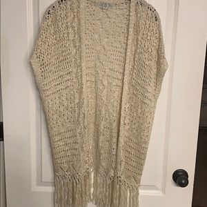 Tan Cardigan with fringe at the bottom